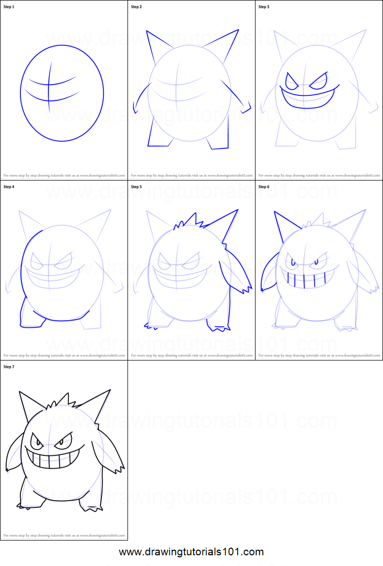 How To Draw Gengar From Pokemon Go Printable Step By Step Drawing