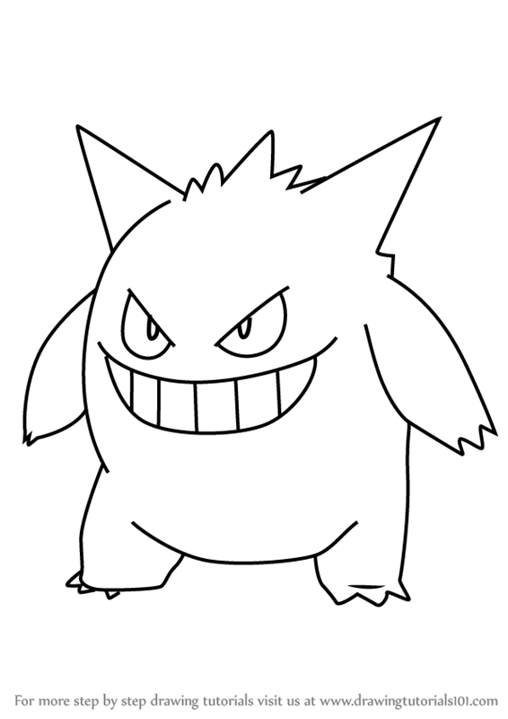 Learn How To Draw Gengar From Pokemon Go Pokemon Go Step By Step Drawing Tutorials