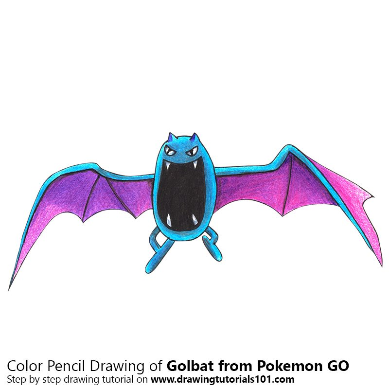Golbat from Pokemon GO Color Pencil Drawing