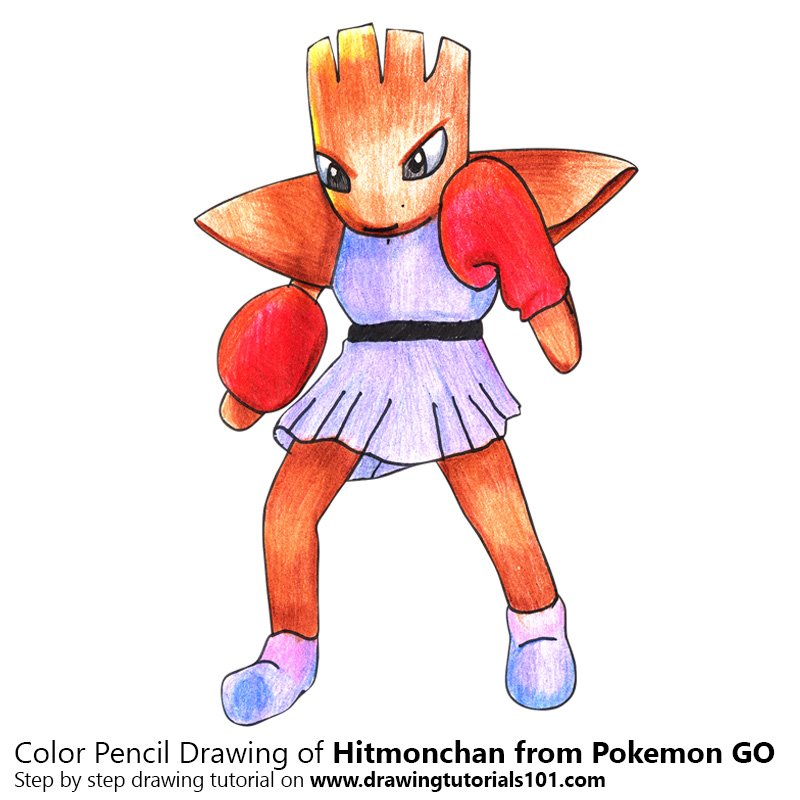 Hitmonchan from Pokemon GO Color Pencil Drawing