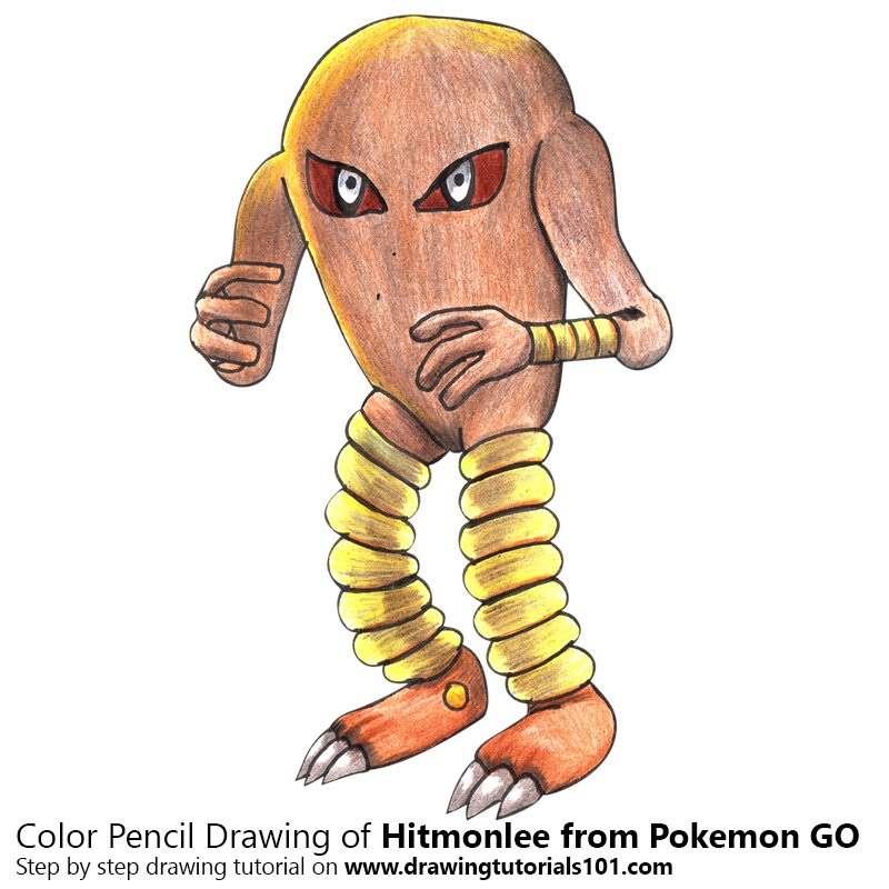 Hitmonlee from Pokemon GO Color Pencil Drawing