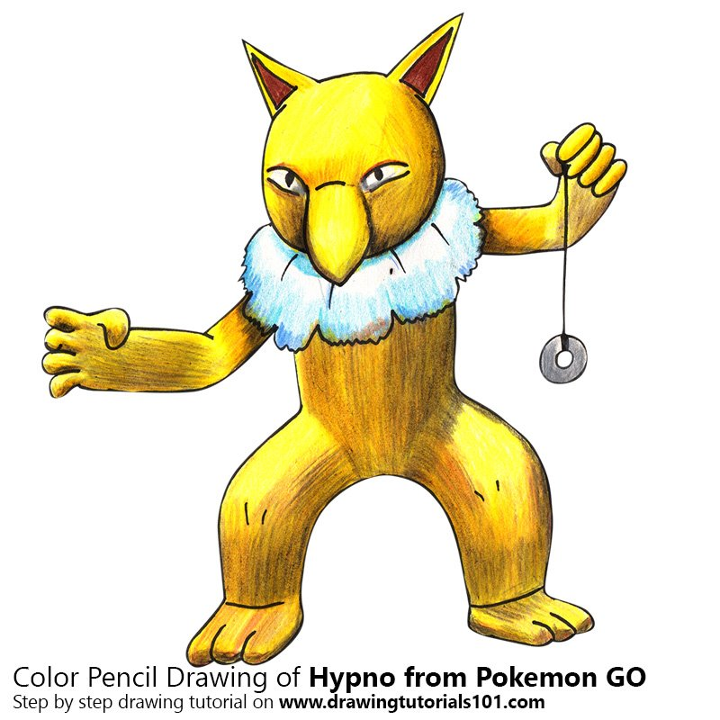 Hypno from Pokemon GO Color Pencil Drawing