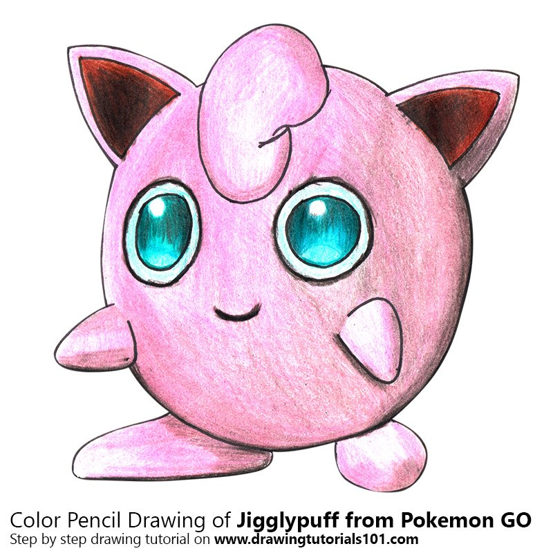 Jigglypuff from Pokemon GO Color Pencil Drawing