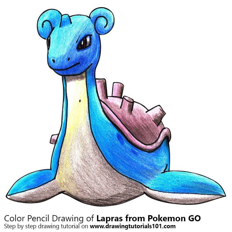 Lapras from Pokemon GO Color Pencil Drawing