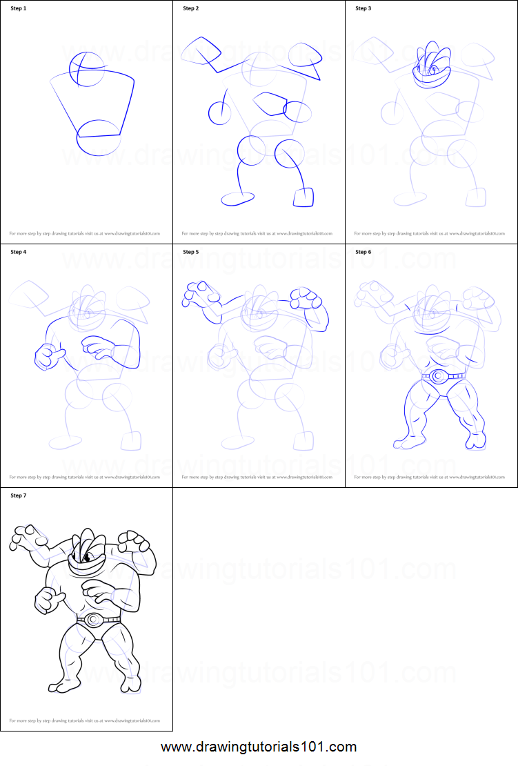 Step By Step Decorating Living Room: How To Draw Machamp From Pokemon GO Printable Step By Step