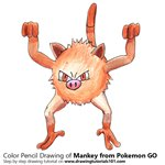 Mankey from Pokemon GO Color Pencil Sketch