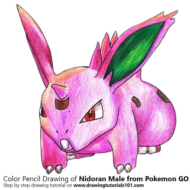 Nidoran Male from Pokemon GO Color Pencil Drawing
