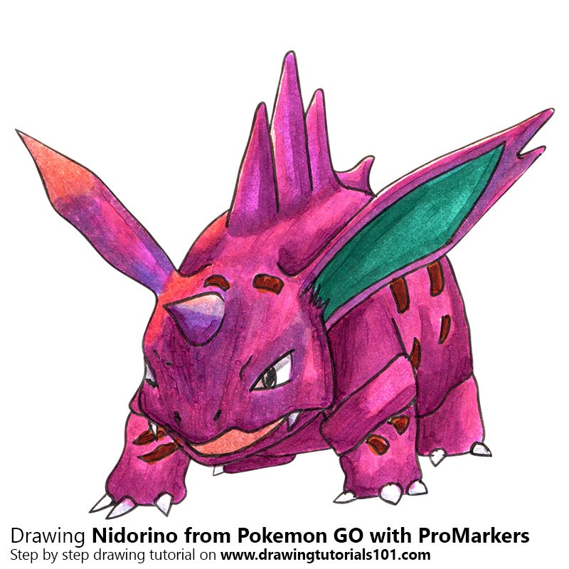 Nidorino from Pokemon GO Color Pencil Drawing