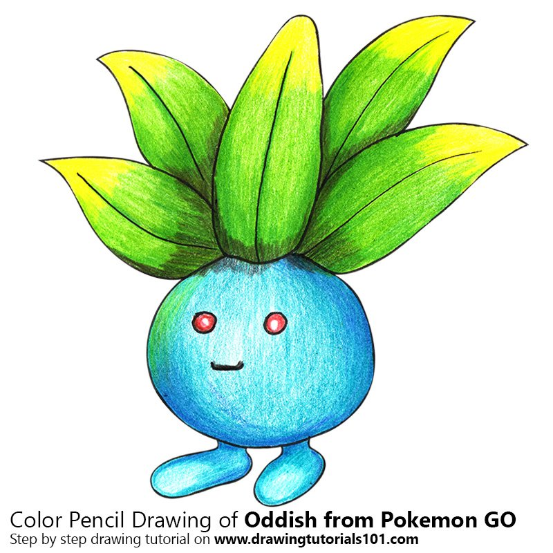 oddish from pokemon go colored pencils drawing oddish from pokemon
