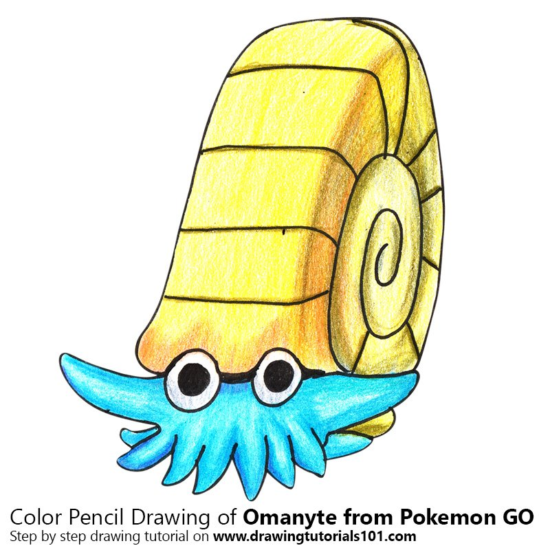 Omanyte from Pokemon GO Color Pencil Drawing