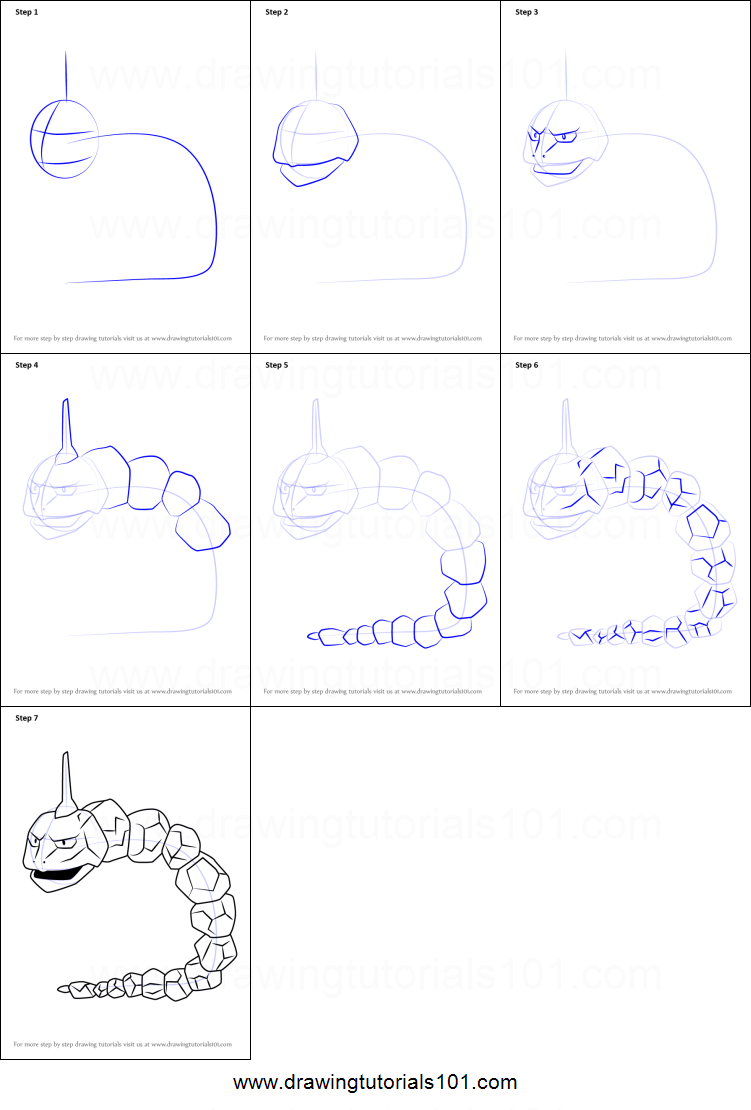 Draw pokemon onix images pokemon images for Free online drawing lessons step by step
