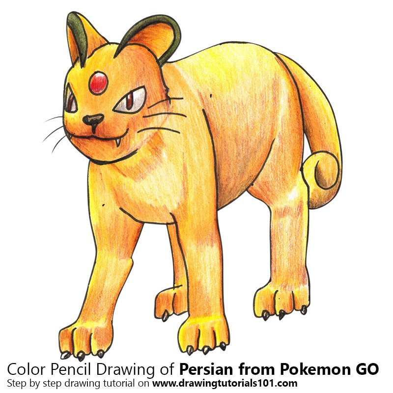 Persian from Pokemon GO Color Pencil Drawing