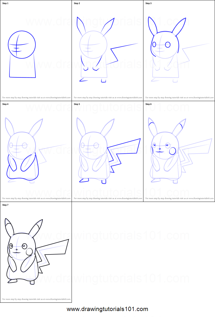 Step By Step Decorating Living Room: How To Draw Pikachu From Pokemon GO Printable Step By Step