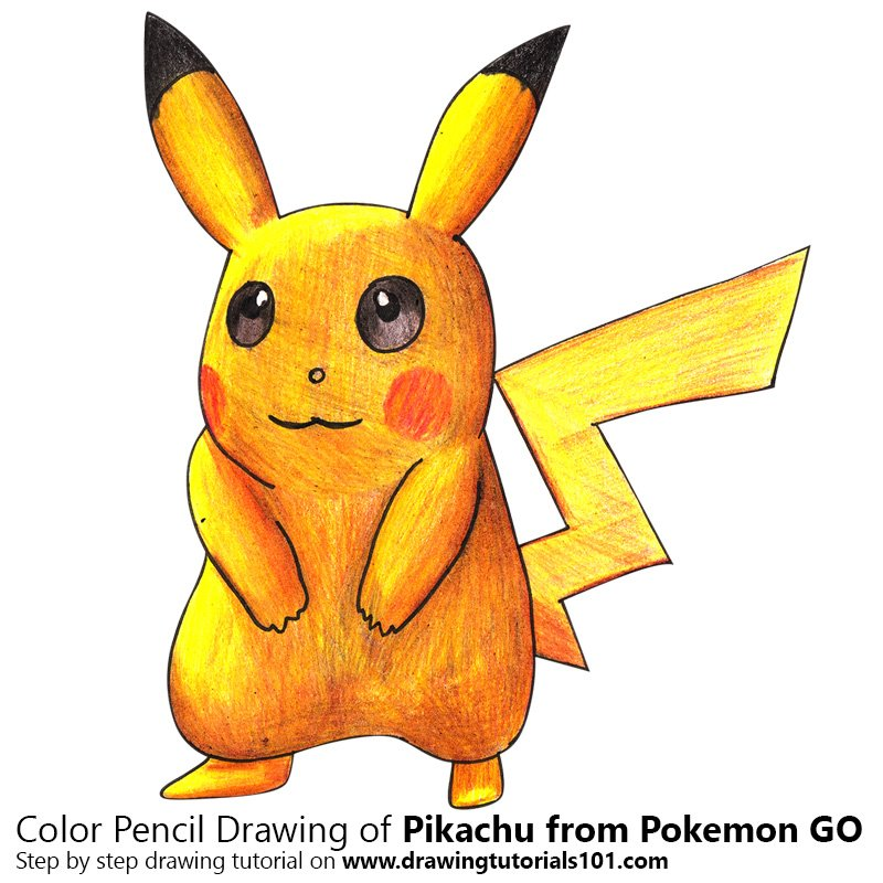 Pikachu from Pokemon GO Color Pencil Drawing