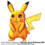 Pikachu from Pokemon GO Color Pencil Sketch
