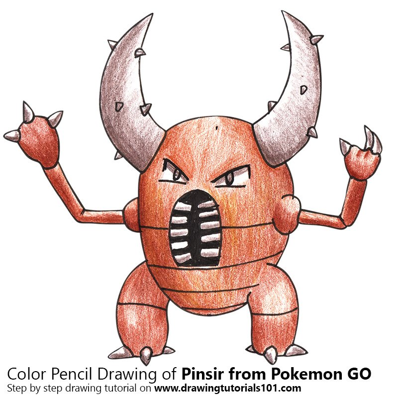 Pinsir From Pokemon Go Colored Pencils Drawing Pinsir From Pokemon
