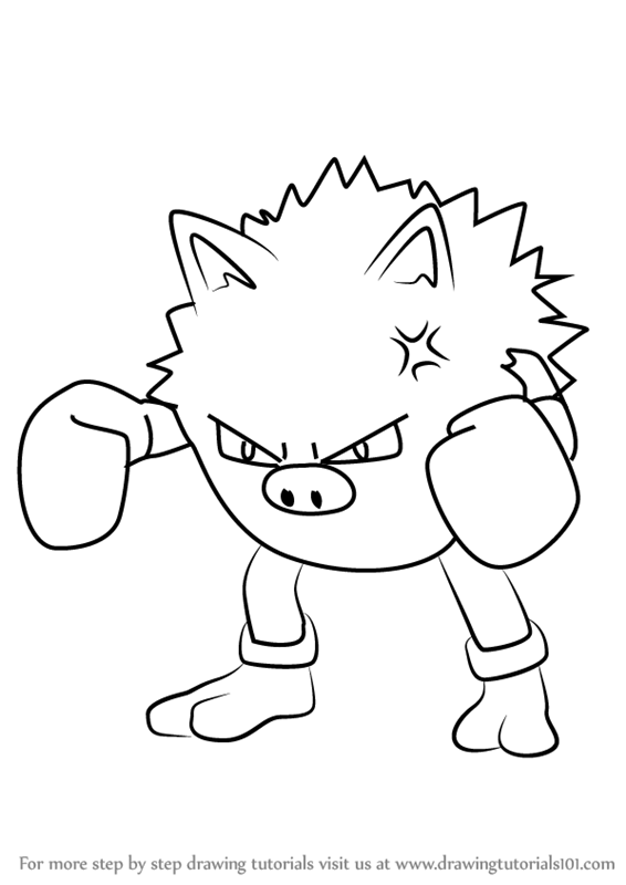 hitmonchan coloring pages - learn how to draw primeape from pokemon go pokemon go