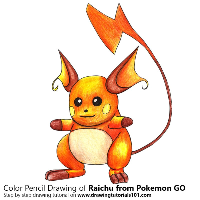 Raichu from Pokemon GO Color Pencil Drawing