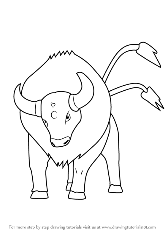 Step by Step Drawing tutorial on How to Draw Tauros from Pokemon GO