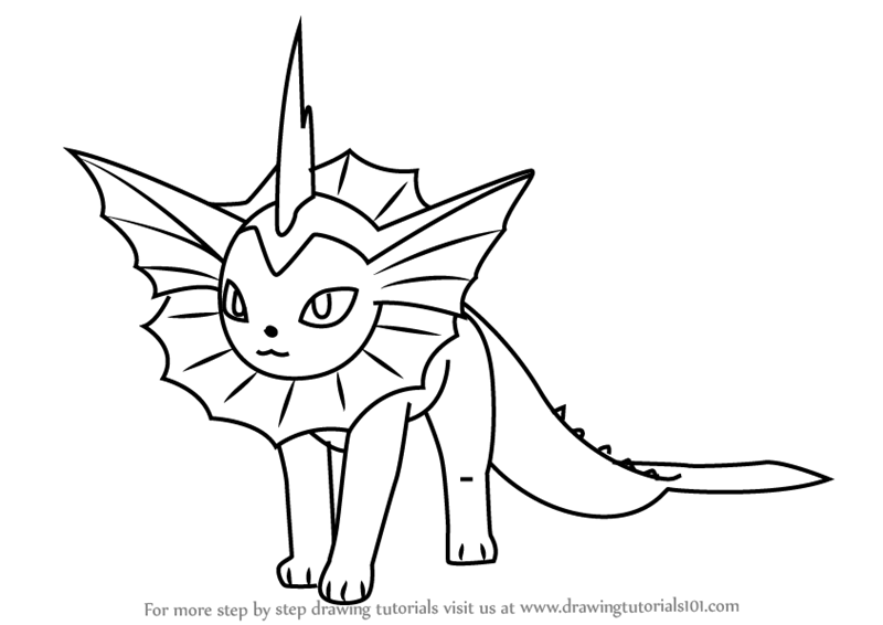 Step by Step Drawing tutorial on How to Draw Vaporeon from Pokemon GO