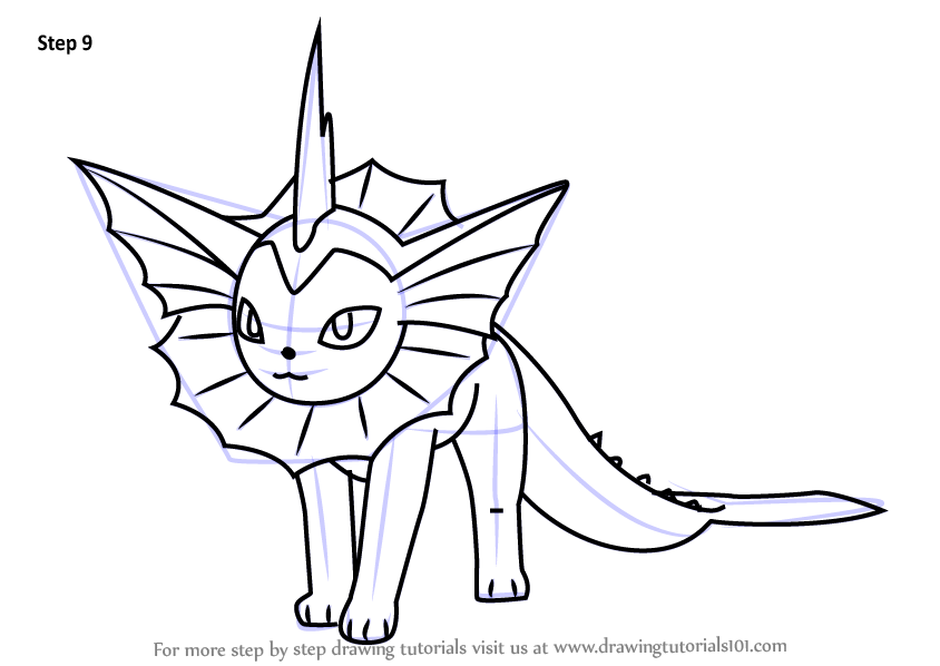Step By Step How To Draw Vaporeon From Pokemon Go