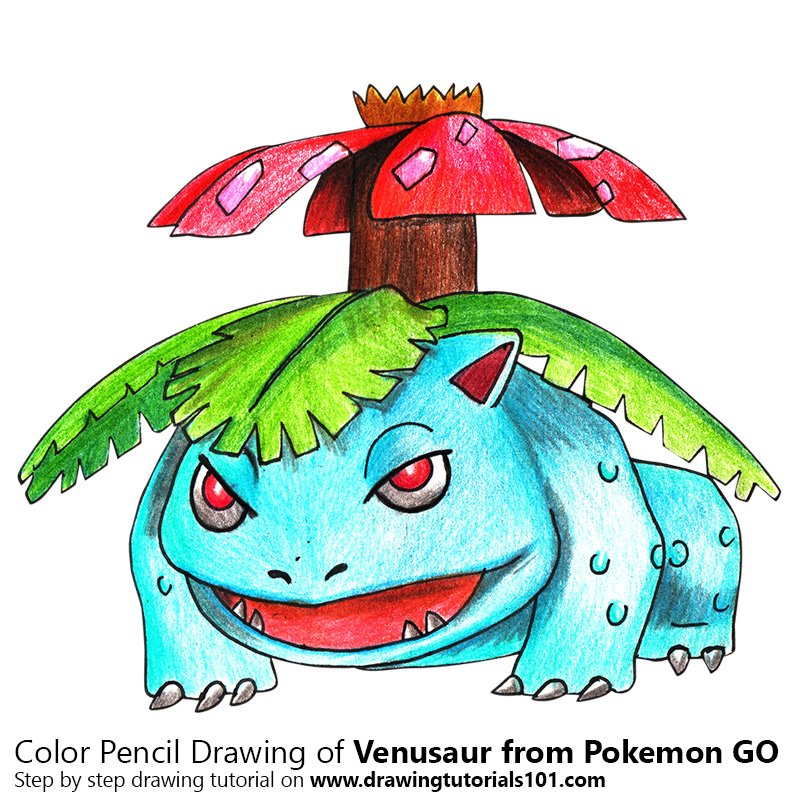 Venusaur from Pokemon GO Color Pencil Drawing