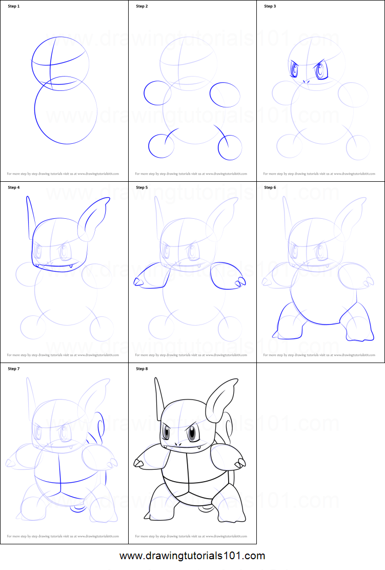How to Draw Wartortle from Pokemon GO printable step by ...