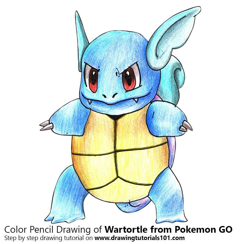 Wartortle from Pokemon GO Color Pencil Drawing