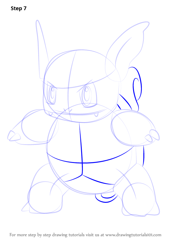 Step by Step How to Draw Wartortle from Pokemon GO ...
