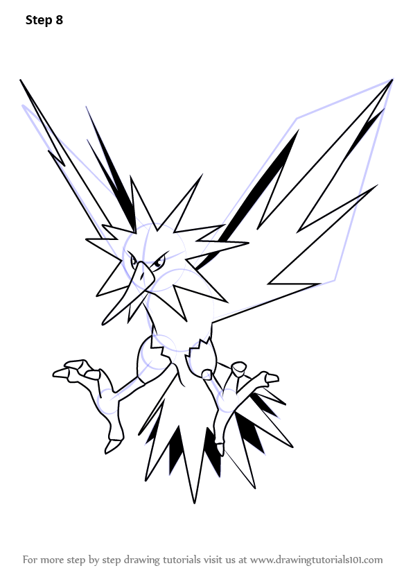 Learn How To Draw Zapdos From Pokemon Go Pokemon Go Step