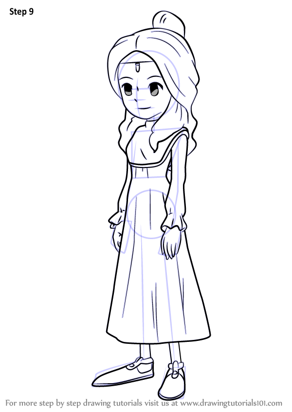 Step By Step How To Draw Aurora From Professor Layton