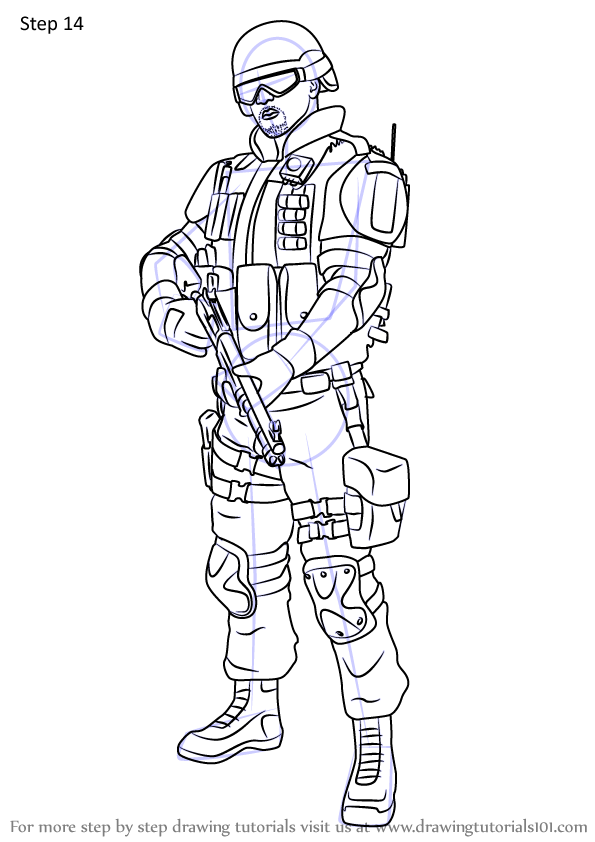 Step By Step How To Draw Castle From Rainbow Six Siege