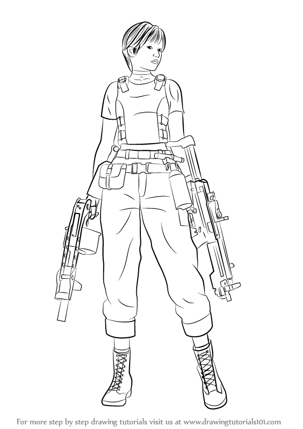 resident evil 5 jill valentine coloring pages | Learn How to Draw Rebecca Chambers from Resident Evil ...