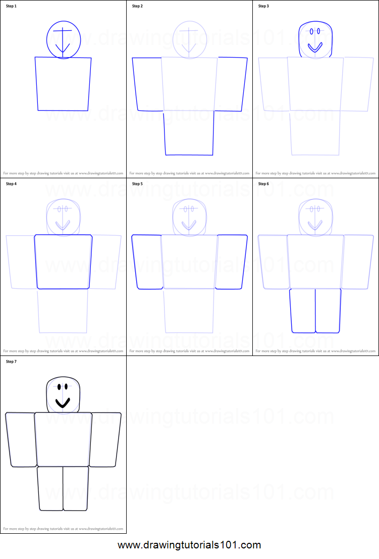 Easy Roblox Drawings How To Draw Noob From Roblox Printable Step By Step Drawing Sheet Drawingtutorials101 Com