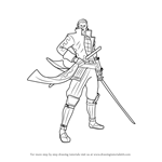 How to Draw Katakura Kojuro from Sengoku BASARA