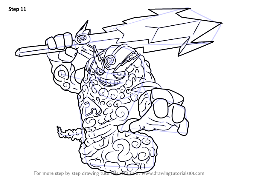 Step by Step How to Draw Thunderbolt from Skylanders