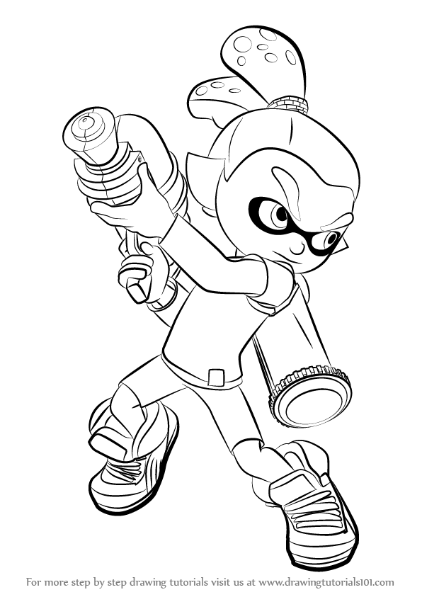 Learn how to draw inkling male from splatoon splatoon for Splatoon coloring pages