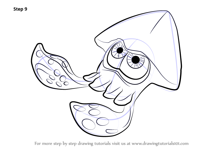how to draw Inkling Squid from Splatoon step 9