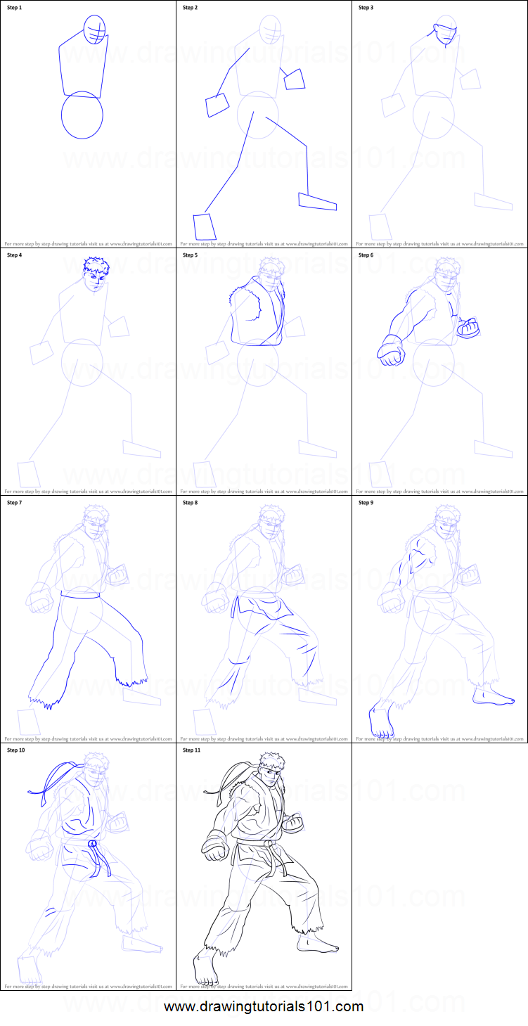 How To Draw Ryu From Street Fighter Printable Step By Step Drawing