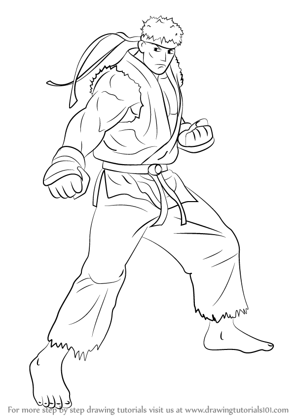 Step By Step How To Draw Ryu From Street Fighter