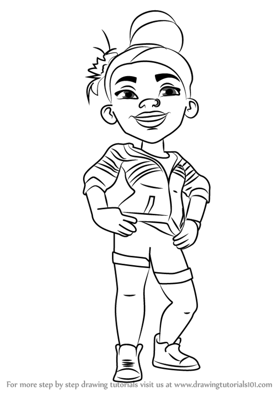 subway surfers coloring pages - learn how to draw aina from subway surfers subway surfers