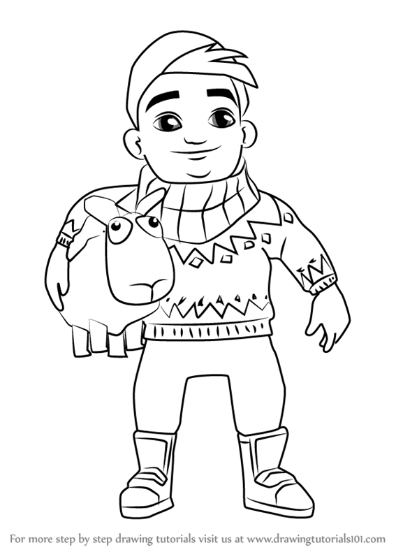 Learn how to draw bjarki from subway surfers subway for Subway surfers coloring pages