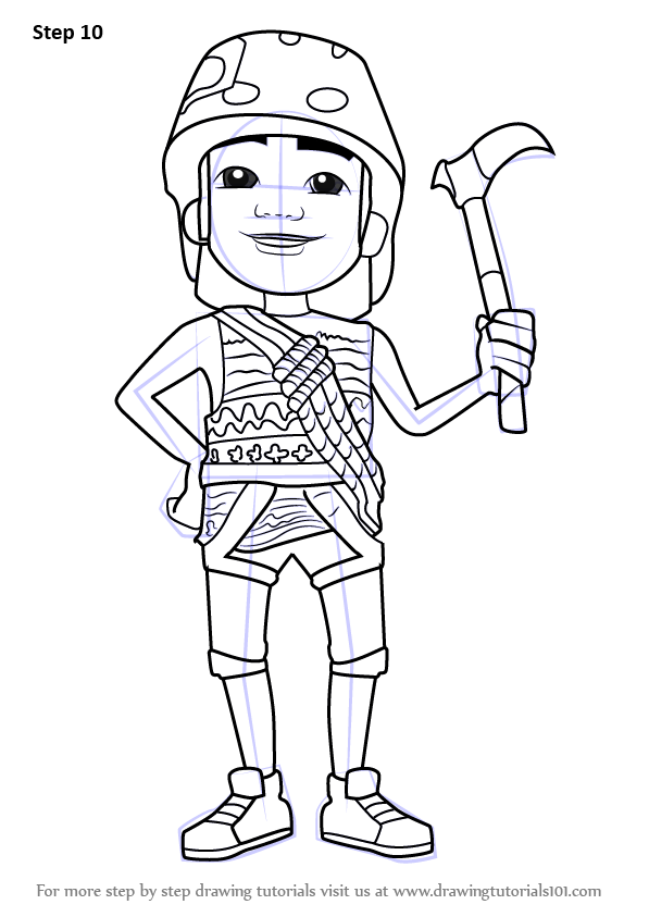 Learn how to draw carlos from subway surfers subway for Subway surfers coloring pages