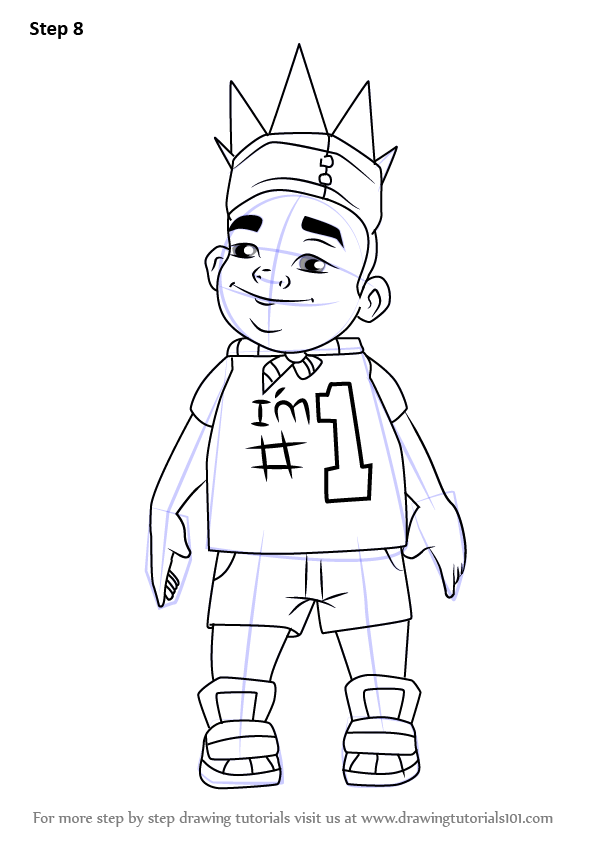 Step By Step How To Draw King From Subway Surfers