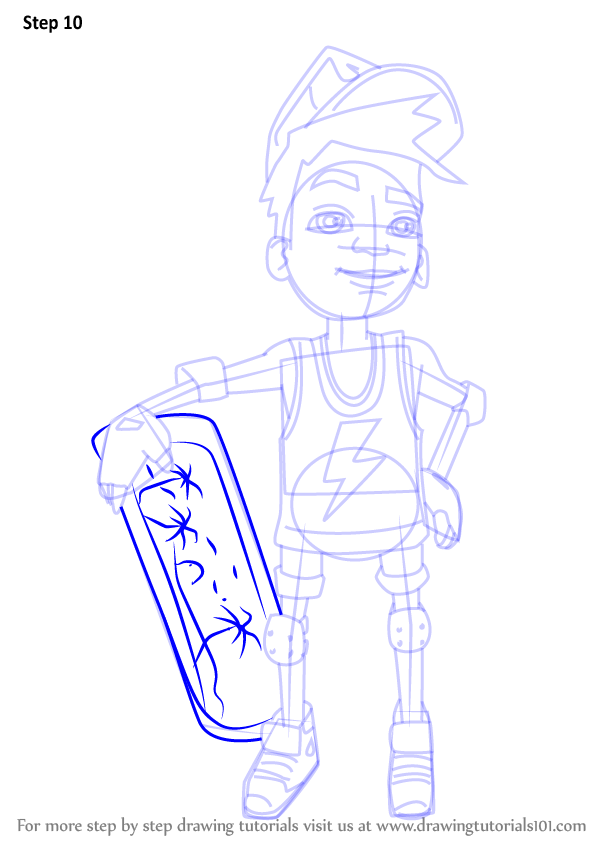 Step by step how to draw nick from subway surfers for Subway surfers coloring pages