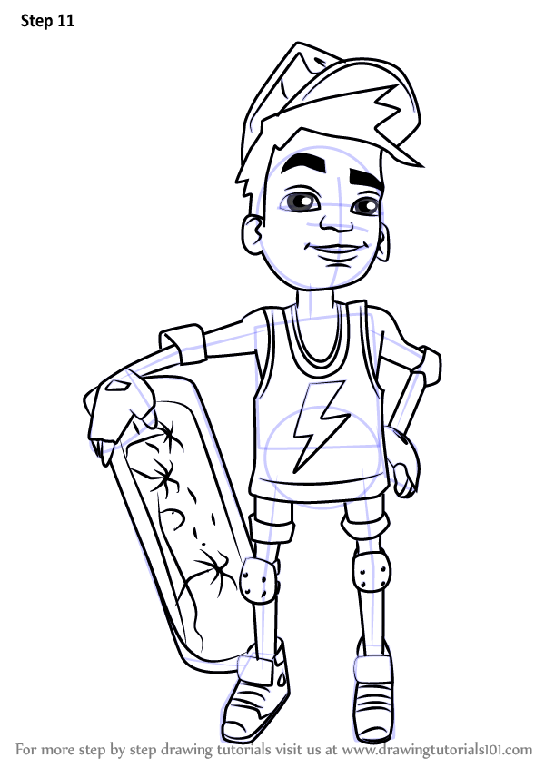 Step By Step How To Draw Nick From Subway Surfers