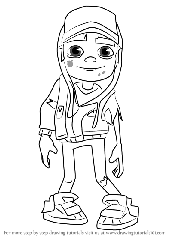 Learn how to draw zombie jake from subway surfers subway for Subway surfers coloring pages