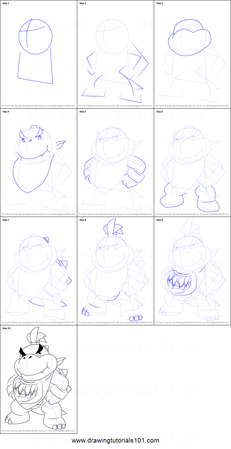 How To Draw Bowser Jr Standing From Super Mario Printable