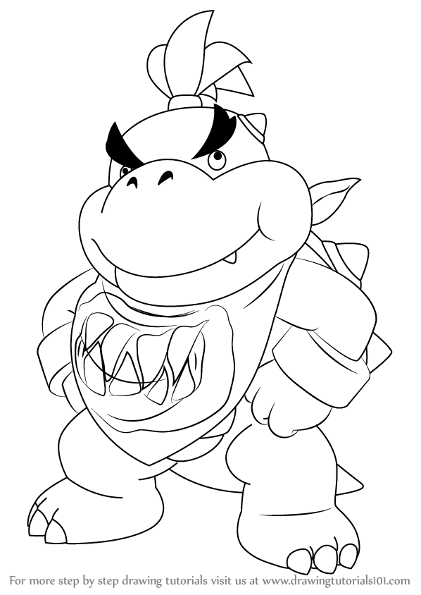 Learn How to Draw Bowser Jr Standing from Super Mario Super