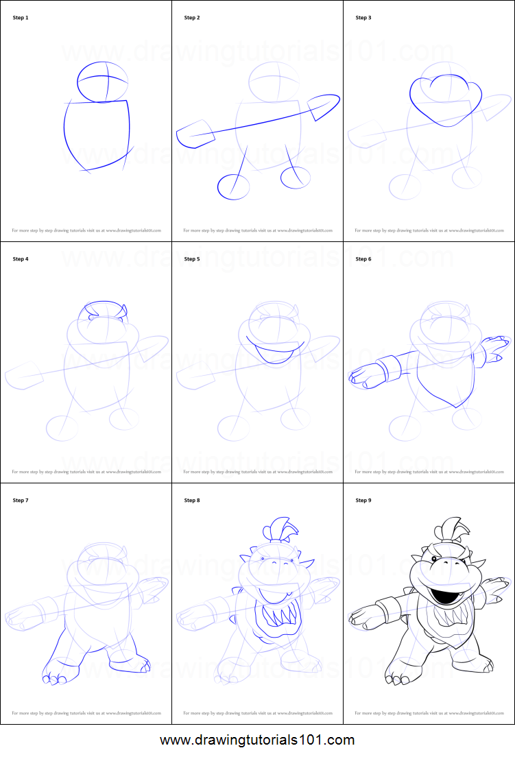 How To Draw Bowser Jr From Super Mario Printable Step By Step Drawing Sheet Drawingtutorials101 Com